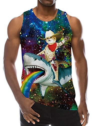 Loveternal Herren Tank Top Cat 3D Drucken Galaxy Shark Grafik Ärmellose Tees Lässige Cooles Sommer Muscle Shirt L -