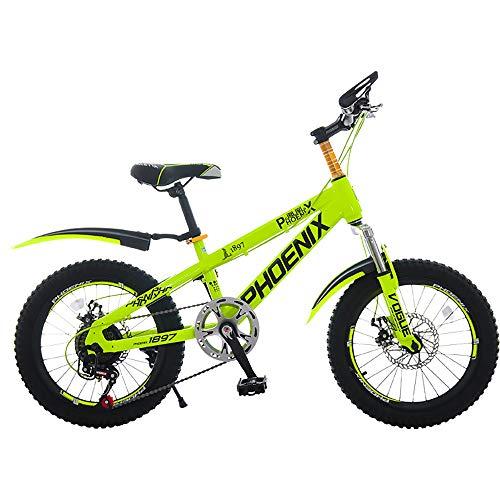 Kinderfahrrad Junge/Mädchen, 7-Gang-Mountainbike aus hartem Kohlenstoffstahl, Cross Country-Stoßdämpfer 18 '' Outdoor-Fahrräder, 5-9 Jahre alte Kinderfahrräder, Rennwagen - gelb