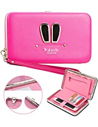 Ladies Purse Wallet,Vandot Universal Women's [Large Capacity] Cell Phone Cover Mobile Phone Bag With Wristlet,Credit Card Slots,Ribbon,Passport Holder,Driving license Folder,Premium Elegant Clutch Pocket Practical Multi-Functional Smartphone Hand Wrist Wallet Pouch Phone Case for iPhone X /8 /8 Plus /7 /7Plus /6S /6S Plus /6 /6Plus /SE /5S, Galaxy Note 8/S8 Plus /S8/ /A3/A5/A7/J3/J5/J7 2017, Huawei Mate 10/9/P10/P9/P8 Lite, HTC 10, LG K10 /K8 2017, OnePlus 3/3T/5 etc. -Cute Rabbit Ear [ROSE RED]