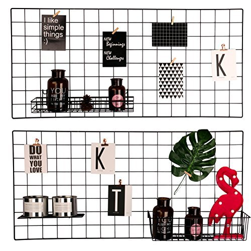 hosal Multifunktions Grid Panel, Wall Decor/Foto/Art Wand Display/Organizer, Größe: 65 x 45 cm Pack von 2 Pcs, schwarz, Grid 45x95 Black (Grid-display-panels)