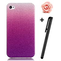 iPhone 4S Case,iPhone 4 Cover [Scratch-Resistant],TOYYM Ultra Slim Back Cover Case with Gradient Color Bling Glitter Clear Shell Bumper Skin for iPhone 4/4S,Flexible Gel TPU Protective Case Cover for Apple iPhone 4/4s +1x Stylus Pen+1x Flower Dust Plug-#8