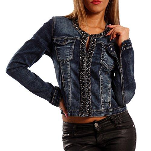 Damen Jeansjacke Jeans Jacket Blouson Strass & Perlen, Farbe:Blau;Größe:38/M (Frauen Für Strass-jacken)