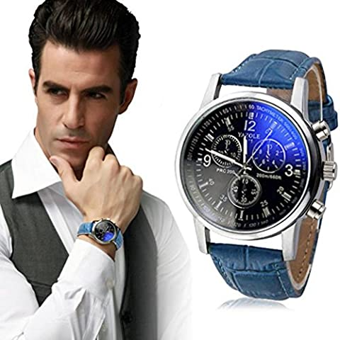 LHWY Luxury Fashion Faux Leather Mens Blue Ray Glass Quartz Analog Watches (black&blue, A)
