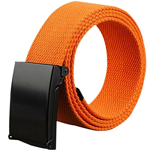 LeisialTM Mode Einfarbig Unisex Stoffgürtel Herren Leinwand Stoffgürtel Damen Stoffgürtel Orange 110CM