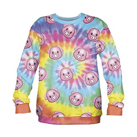 Women's Men's Full Print Sweatshirt 3D Pullover Fitness Running Yoga Teenager Long Sleeve Jumper Fashion Gugu Top S / M / L (One Size Fits S / M, Emoji Pig Dye)