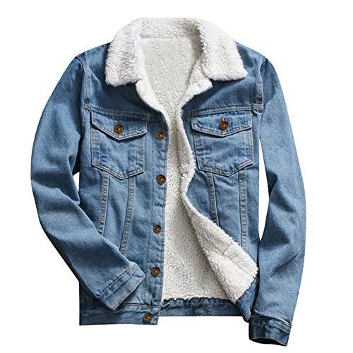 Elecenty Giacca di Jeans Larghi a Maniche Lunghe Vintage Giacca Cappotto Inverno Caldo Manica Lunga Coat