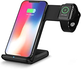 MMLC 2in1 10 Watt Qi Wireless Schnellladegerät Halter Stand für Apple Watch iPhone8 X Samsung S9 S8 S7 und Mehr Wireless Charging Stand (Schwarz)