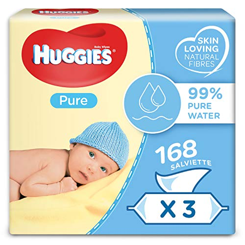 Huggies Pure Toallitas para Bebé - Paquetes de 3 x 56 toallitas - Total: 168 toallitas