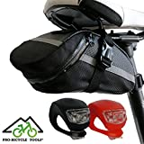 Pro Fahrrad Satteltasche, Fahrradtasche + Fahrradlicht Set für Handy, Werkzeug und Portmonnaie. Gut für Kinder/Bike Bag + LED light set for your Phone/Geld-zurück-GARANTIE, by BICYCLE TOOLS