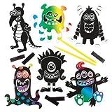 Kratzbild-Magnete Weltraum-Monster für Kinder als Bastel- und Deko-Idee Zum kreativen Gestalten für Jungen und Mädchen (10 Stück)