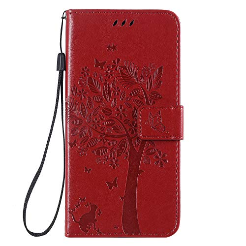 Miagon für Samsung Galaxy A70 Geldbörse Wallet Case,PU Leder Baum Katze Schmetterling Flip Cover Klapphülle Tasche Schutzhülle mit Magnet Handschlaufe Strap