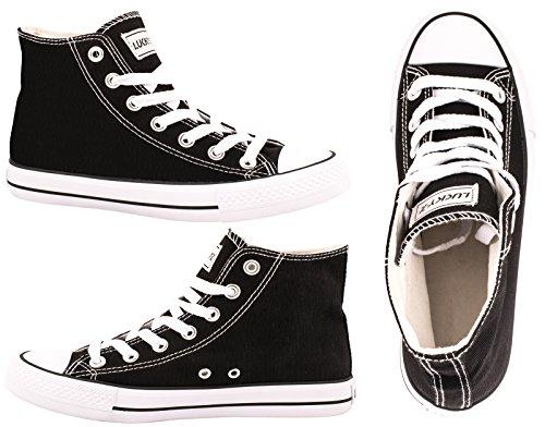 Elara Unisex Kult Sneaker | Bequeme Sportschuhe für Damen und Herren | High Top Textil Schuhe|Chunkyrayan Farbe, Schwarz, 43 EU