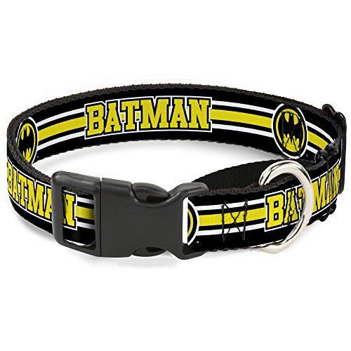 76-m schwarz/weiß/gelb Batman Martingale Hundehalsband, 2,5cm Wide-fits 27,9-43,2cm Neck-medium ()