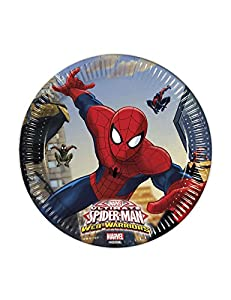 Procos 85152 - Platos Papel Ultimate Spider Man Web Warriors, Ø20 cm, 8 piezas, rojo/azul/azul