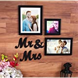 Painting Mantra Together Forever - Set of 3 Individual wall Photo Frames with Mr & Mrs MDF Plaque for couples,Black
