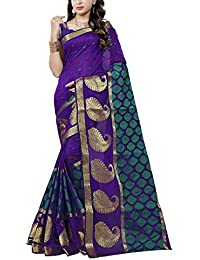 Vishnu Creation Women's Art Silk Saree (Blue & Turquoise)