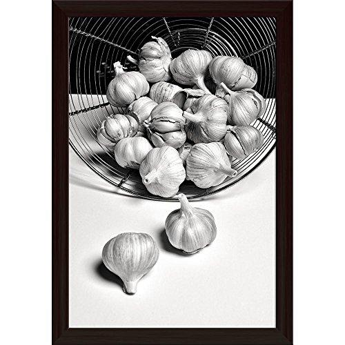 Pitaara Box Photo of Black & White Garlic Canvas Painting Dark Brown Frame 14 X 20.5Inch Mobile Black-box