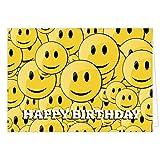 Große Glückwunschkarte zum Geburtstag XXL (A4) Viele gelbe lustige Smileys/mit Umschlag/Edle Design Klappkarte/Glückwunsch/Happy Birthday Geburtstagskarte/Extra Groß/Edle Maxi Gruß-Karte