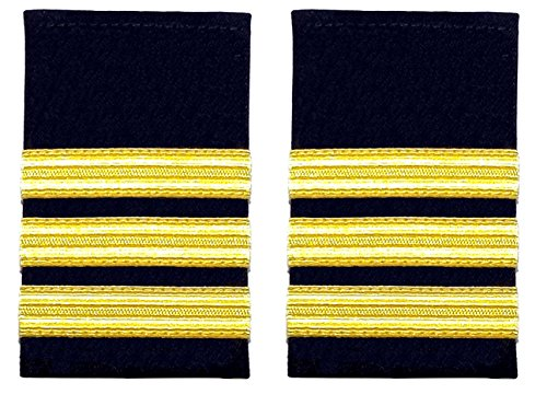 Schulterklappe, 3 goldfarbene Streifen auf Schwarz, für Piloten, Marine, 1 Paar Marine-pilot
