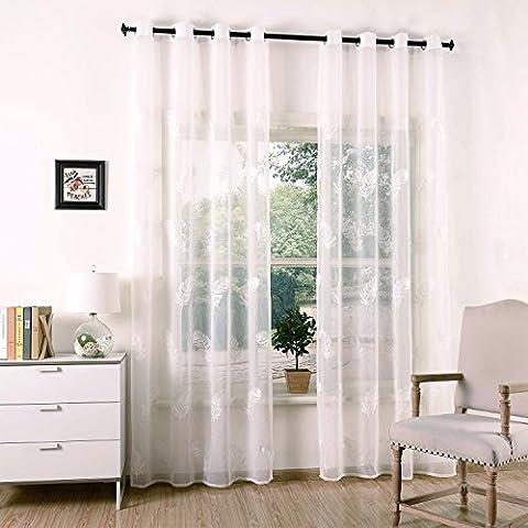 2er Gardine Store Voile Vorhang Leinenoptik Ösenvorhang Transparent Dekoschal mit Stickerei Weiß 135 x 240cm Leinenoptik Jacquard Feder Muster