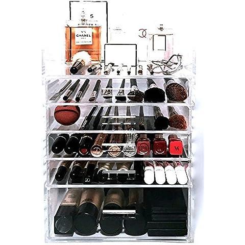 Lujo hecho a mano decorativos pulido 6niveles claro acrílico organizador de cosméticos de almacenamiento