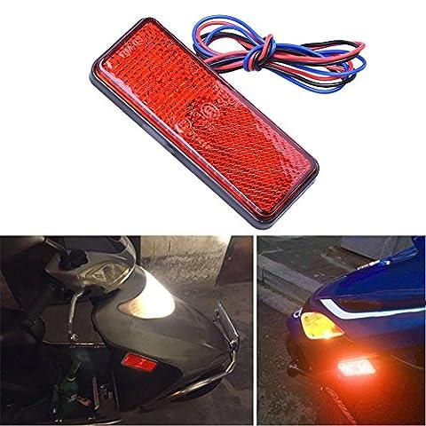 Zyurong 24 SMD LED Car Rear Tail Light Indicator Lamp Atv LED Reflectors - Motorcycle Square Reflector Tail Brake Turn Signal Light Lamp Red