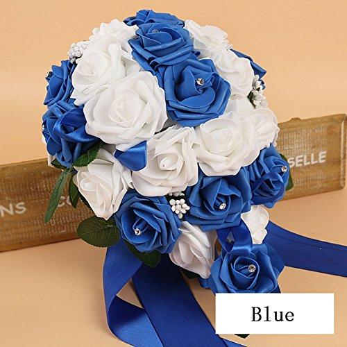 Lucky goccia wedding flowers bridal bouquet di rose di schiuma fiori artificiali, blu