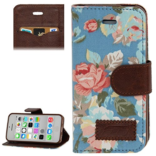 Mxnet Denim Texture Peony Pattern Horizontale Flip Ledertasche mit Halter & Kreditkarte Slots für iPhone 5C rutschsicher Telefon-Kasten ( Color : Blue - Iphone 5c Kreditkarten-telefon-kasten