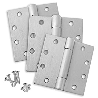 Commercial Heavy Duty Door Hinges, Concealed Bearing, Satin Chrome (US26D), 4.5