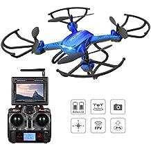 Potensic® Fonction Stepless-speed RC drone F181DH 5.8GHz 4CH 6-Axis Gyro RC Quadcopter drone avec 2 mégapixels caméra HD, Fonction Altitude Tenir, 360 degrés Flips, support Photographie aérienne -Bleu