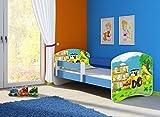 Infantasie 'Junior blau' Motiv Kinderbett Komplett Set 160 x 80 cm inkl. Matratze und Lattenrost, Kantenschutzleisten umlaufend, extra Rausfallschutz Seitenteil (verstellbar), Seitenteile: Blau, Design: 20 Bagger