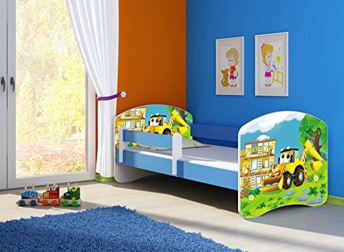 Clamaro 'Fantasia blau' Motiv Kinderbett Komplett Set 160 x 80 cm inkl. Matratze und Lattenrost, Kantenschutzleisten umlaufend, extra Rausfallschutz Seitenteil (verstellbar), Seitenteile: Blau, Design: 20 Bagger