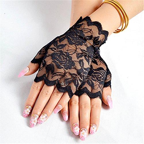 Pink Lace Fingerlose Handschuhe - YMCHE Sommerhandschuhe für Damen, sexy, halbe