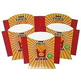 ToCis Big BBQ 24 Stück Hamburger-Boxen, Pommes-Tüten, Hot Dog Schalen aus Pappe | Grill Party Einweg-Geschirr | Fast-Food Verpackung im Vintage Design (Pommes Schale French Fries 24 STK.)