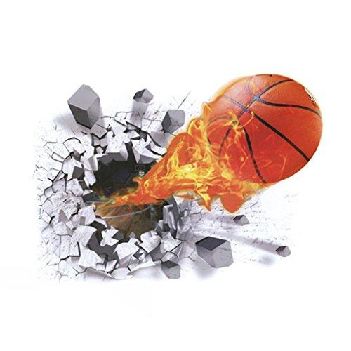 Lorsoul 3D Stereo Basketball Bruch-Wand-Kunst-Aufkleber-entfernbare PVC-Wand-Tattoo-Abziehbilder Wohnzimmer Tapete (Basketball-wand-kunst)