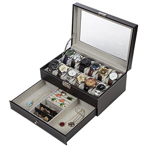 Readaeer Caja para 12 Relojes con dos capas , Hecho de vidrio y cuero