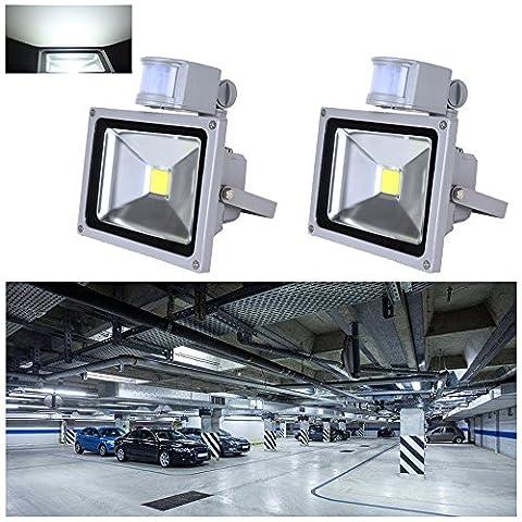 VINGO® 2X 20W Kaltweiß LED Strahler Fluter Flutlicht mit Bewegungsmelder außenstrahler Baustrahler