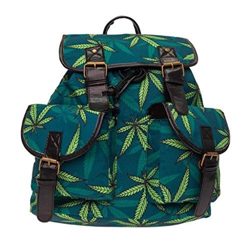 Hanf Messenger Tasche (SHFANG Student Double Pocket Rucksack gedruckt | Green Hanf Blatt Retro | Double Schultertasche Shopping School 20-35L)