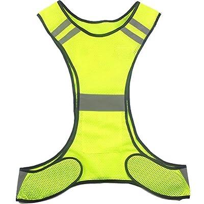 Wushine Verstellbar Reflektierende Warnweste Sicherheitsweste Gelb Sicherheit Laufen Weste Für Damen Und Herren