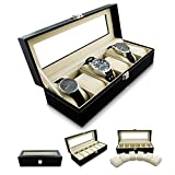 VENKON-Caja-para-6-Relojes-de-Pulsera-Vitrina-Joyera-Almacenamiento-y-Presentacin-de-Reloj-Organizador-Cuero-Sinttico-Negro