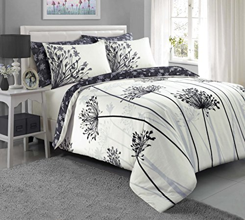 Sleepdown Meadow Grey Duvet Quilt Cover + PillowCases (Double) Best Price and Cheapest