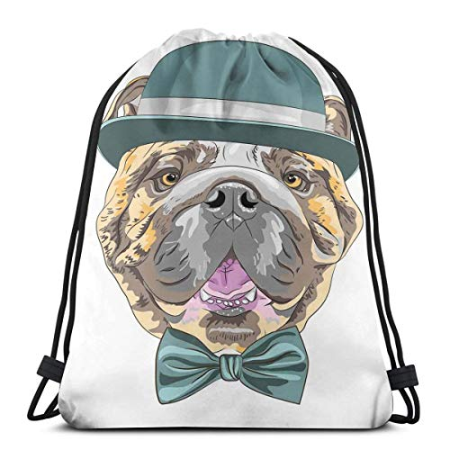 Juziwen Printed Drawstring Backpacks Bags,Dog In A Hat and Bow Tie Animal Design with Formal Attire Pure Breed,Adjustable String Closure -