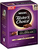 Nescafe Taster's Choice 100% Colombian Instant Coffee, 20 Count Single Serve Sticks, (Pack of 8)