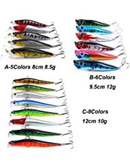 Cebos Aorace kit 19pcs/señuelos de pesca de lote del kit 3 modelos incluyendo Mixta Popper Minnow señuelos para agua salada de agua dulce Trucha Bass Fishing