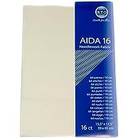 RTO Aida 16Count Stoff, 100% Baumwolle, Elfenbeinfarben, 49x 45cm