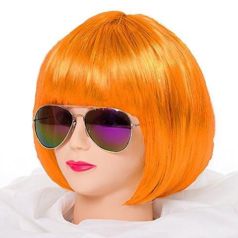 Bob Perücke für Damen, Herren & Kinder Cabaret 14 Farben (Orange)