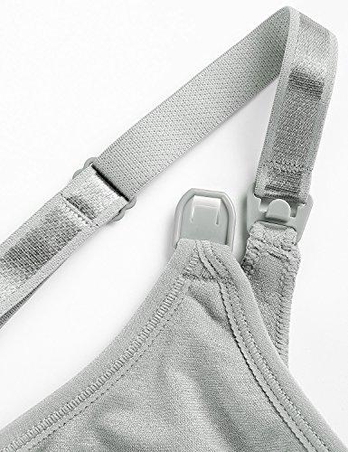 Gratlin Donna Reggiseno Allattamento Morbida Dorso a Vogatore Senza Cuciture Grigio argento