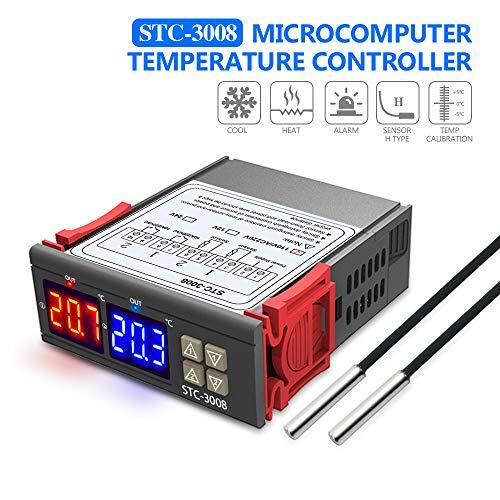 Diymore STC-3008 Thermostat numérique avec sonde double capteur NTC, Contrôleur de température STC-3008 AC110V-220V