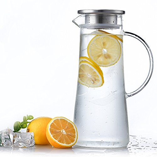 Eco4life Karaffe Glas mit Deckel aus Edelstahl und Auslauf Glaskaraffe Wasserkrug mit Griff, für Homemade Saft