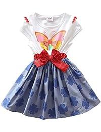 Star - Kurzarm Mädchen Sommerkleid mit Schmetterling und Kleeblättchen Druck - 100% Baumwolle
